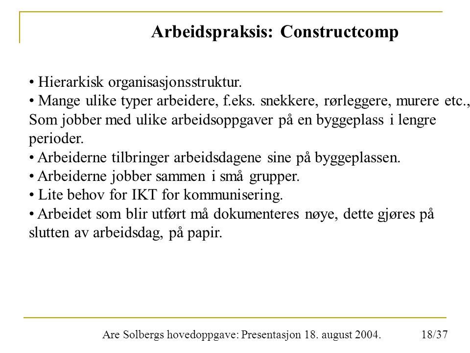 Are Solbergs hovedoppgave: Presentasjon 18. august 2004. Arbeidspraksis: Constructcomp Hierarkisk organisasjonsstruktur. Mange ulike typer arbeidere,