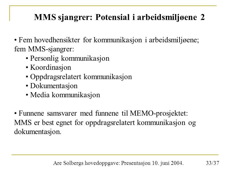 Are Solbergs hovedoppgave: Presentasjon 10. juni 2004. MMS sjangrer: Potensial i arbeidsmiljøene 2 Fem hovedhensikter for kommunikasjon i arbeidsmiljø