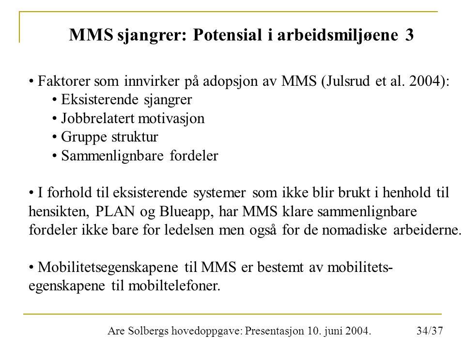 Are Solbergs hovedoppgave: Presentasjon 10. juni 2004. MMS sjangrer: Potensial i arbeidsmiljøene 3 Faktorer som innvirker på adopsjon av MMS (Julsrud