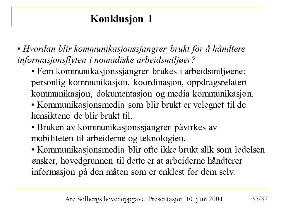 Are Solbergs hovedoppgave: Presentasjon 10. juni 2004. Konklusjon 1 Hvordan blir kommunikasjonssjangrer brukt for å håndtere informasjonsflyten i noma
