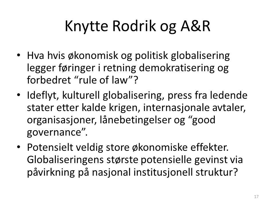"""Knytte Rodrik og A&R Hva hvis økonomisk og politisk globalisering legger føringer i retning demokratisering og forbedret """"rule of law""""? Ideflyt, kultu"""