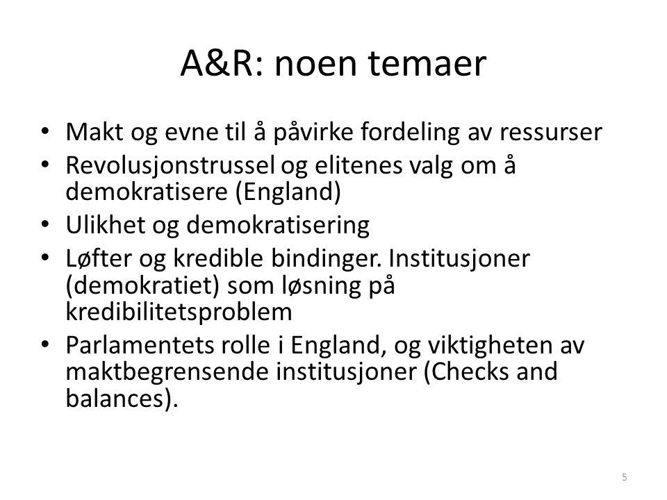 A&R: noen temaer Makt og evne til å påvirke fordeling av ressurser Revolusjonstrussel og elitenes valg om å demokratisere (England) Ulikhet og demokra