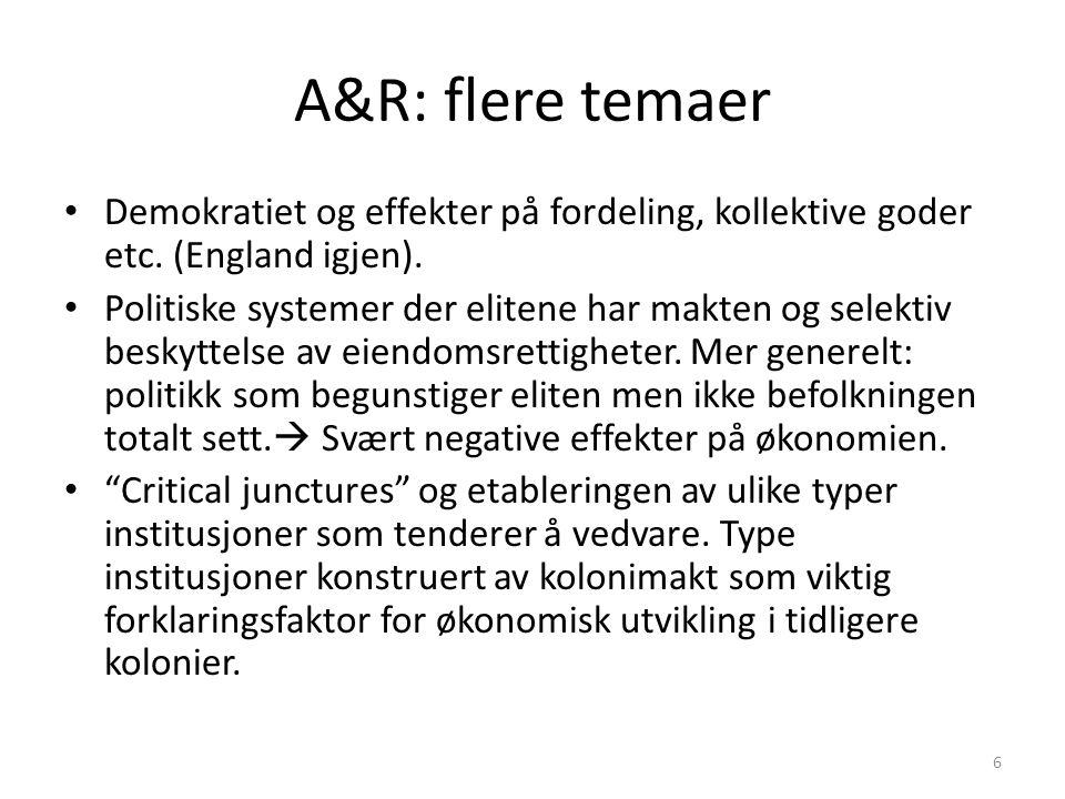 A&R: flere temaer Demokratiet og effekter på fordeling, kollektive goder etc. (England igjen). Politiske systemer der elitene har makten og selektiv b
