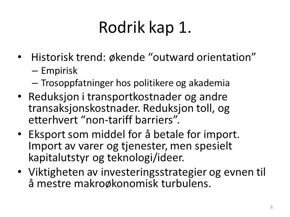 """Rodrik kap 1. Historisk trend: økende """"outward orientation"""" – Empirisk – Trosoppfatninger hos politikere og akademia Reduksjon i transportkostnader og"""