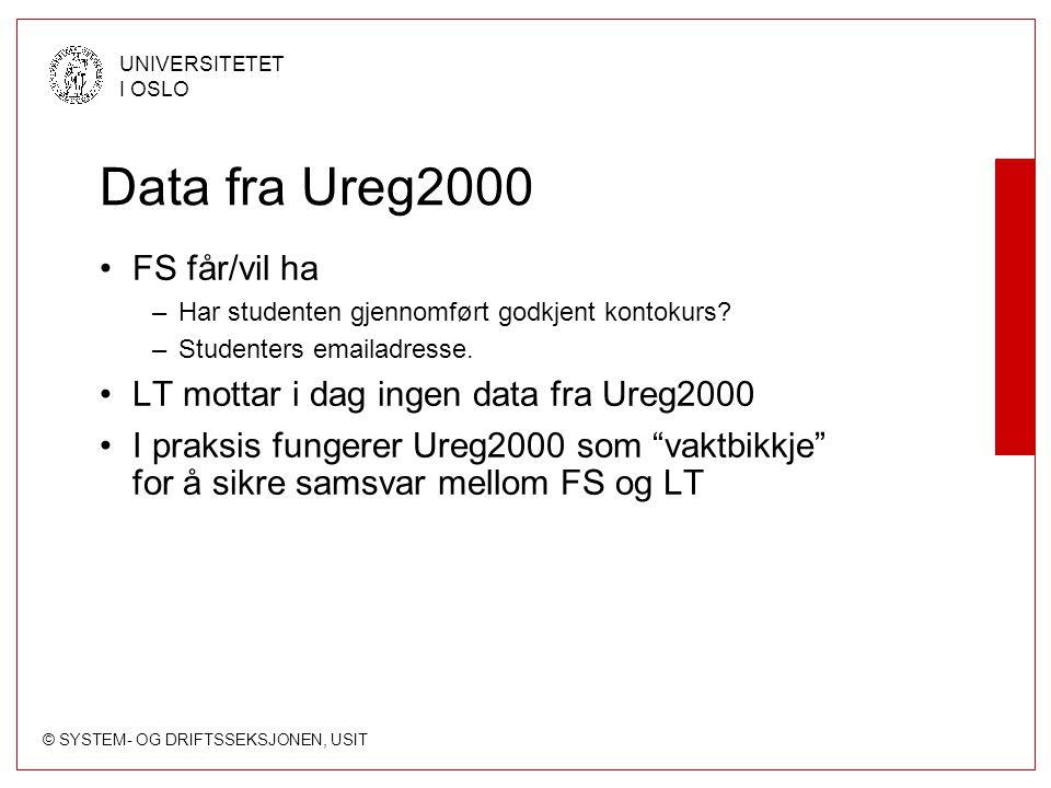 © SYSTEM- OG DRIFTSSEKSJONEN, USIT UNIVERSITETET I OSLO Data fra Ureg2000 FS får/vil ha –Har studenten gjennomført godkjent kontokurs? –Studenters ema
