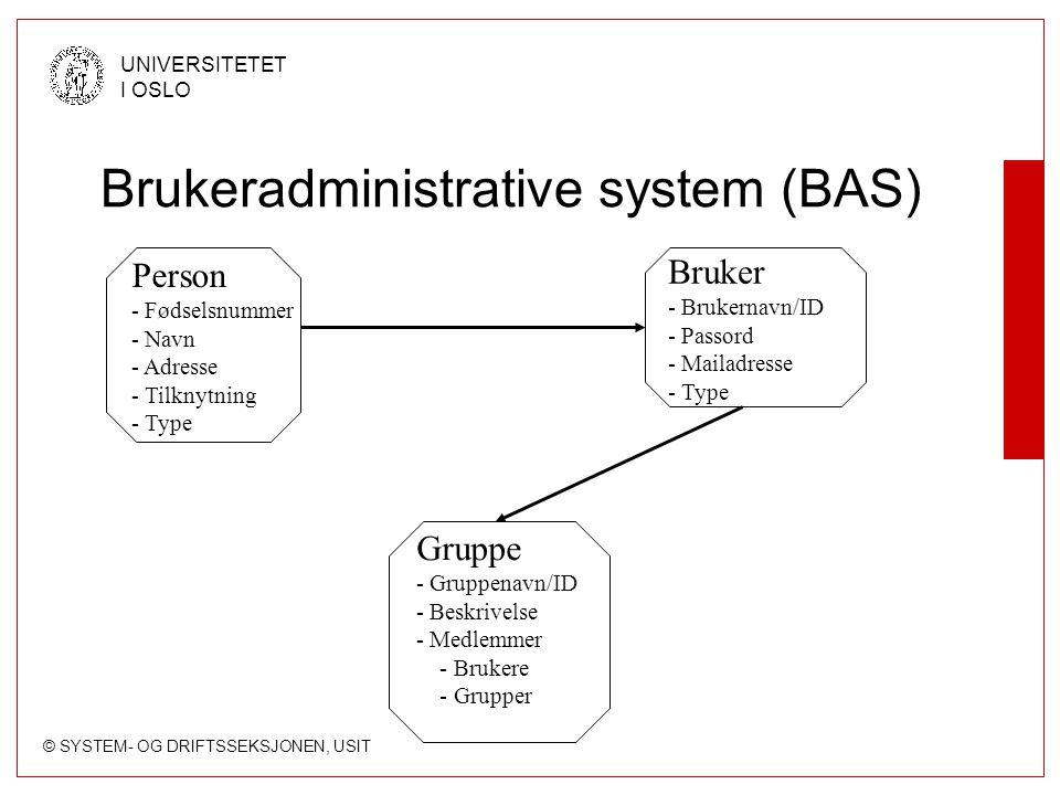 © SYSTEM- OG DRIFTSSEKSJONEN, USIT UNIVERSITETET I OSLO Brukeradministrative system (BAS) Person - Fødselsnummer - Navn - Adresse - Tilknytning - Type