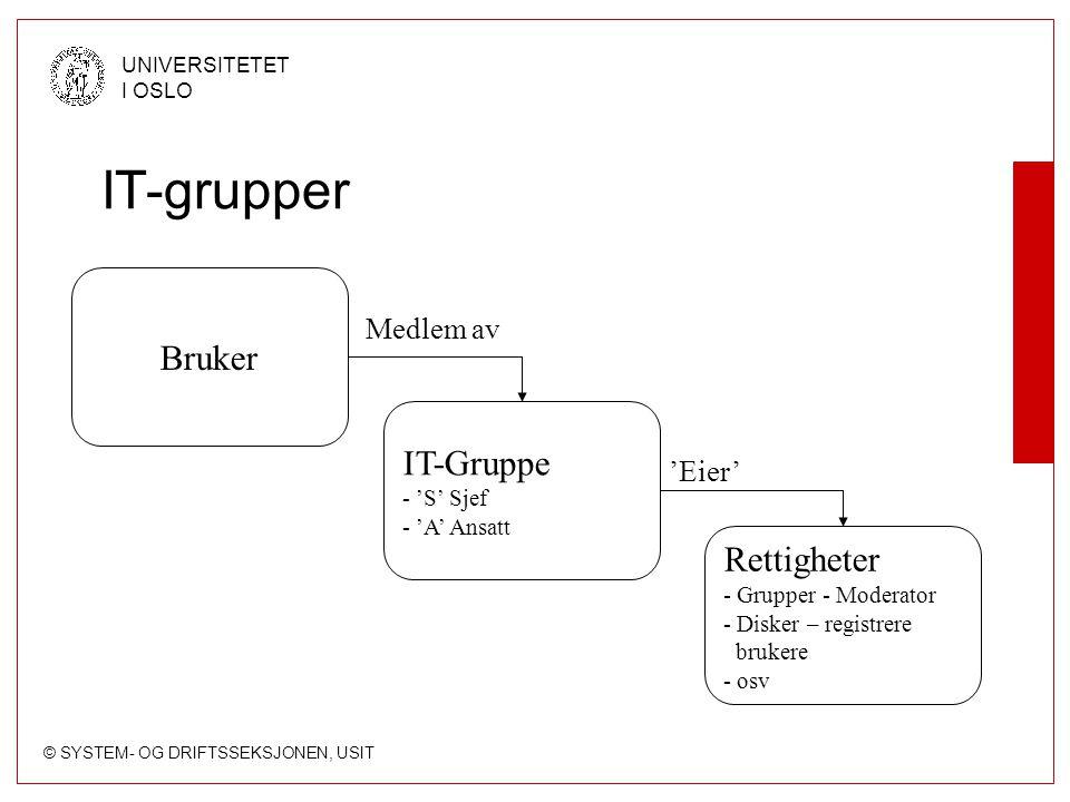 © SYSTEM- OG DRIFTSSEKSJONEN, USIT UNIVERSITETET I OSLO IT-grupper Bruker IT-Gruppe - 'S' Sjef - 'A' Ansatt Rettigheter - Grupper - Moderator - Disker – registrere brukere - osv Medlem av 'Eier'