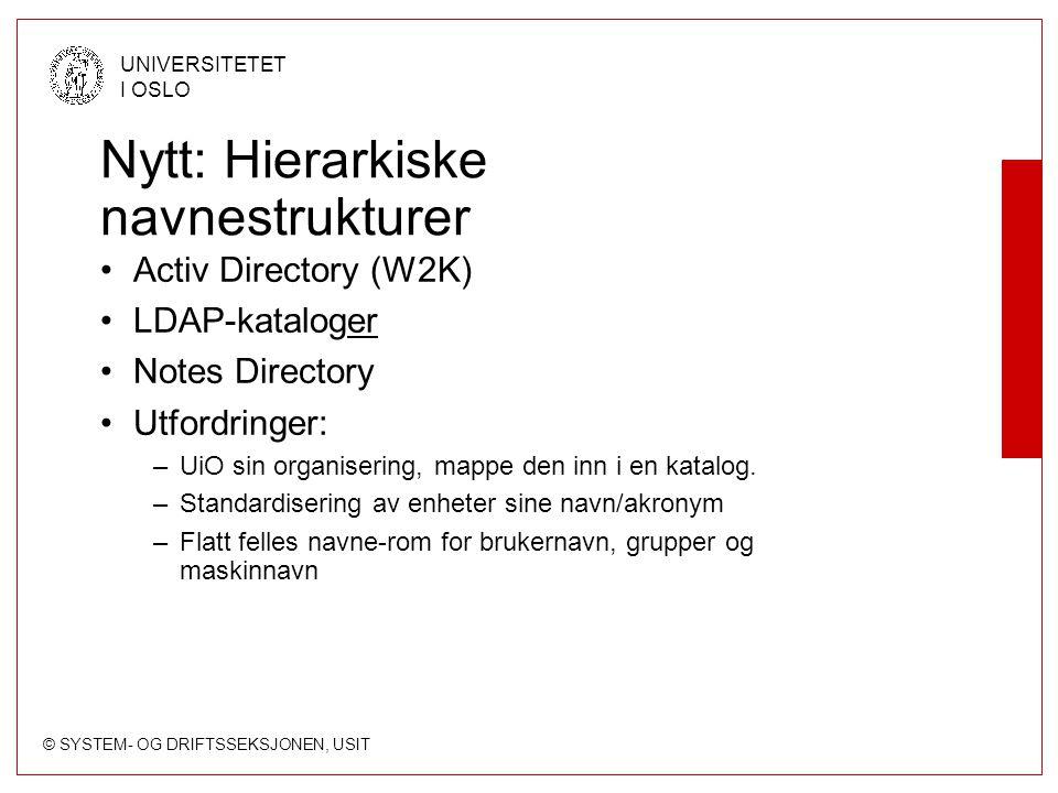 © SYSTEM- OG DRIFTSSEKSJONEN, USIT UNIVERSITETET I OSLO Nytt: Hierarkiske navnestrukturer Activ Directory (W2K) LDAP-kataloger Notes Directory Utfordringer: –UiO sin organisering, mappe den inn i en katalog.