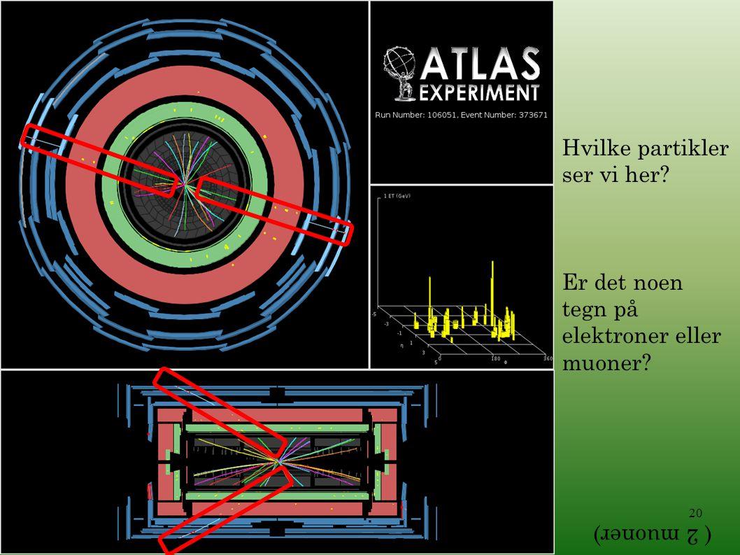 20 Hvilke partikler ser vi her? Er det noen tegn på elektroner eller muoner? ( 2 muoner)