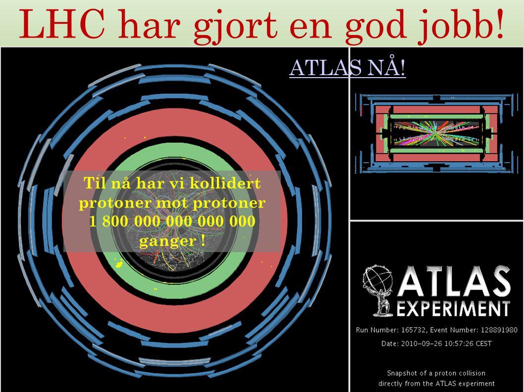 32 LHC har gjort en god jobb! ATLAS NÅ! Til nå har vi kollidert protoner mot protoner 1 800 000 000 000 000 ganger !
