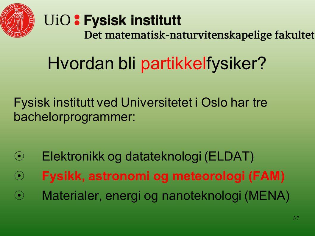 Hvordan bli partikkelfysiker? Fysisk institutt ved Universitetet i Oslo har tre bachelorprogrammer:  Elektronikk og datateknologi (ELDAT)  Fysikk, a