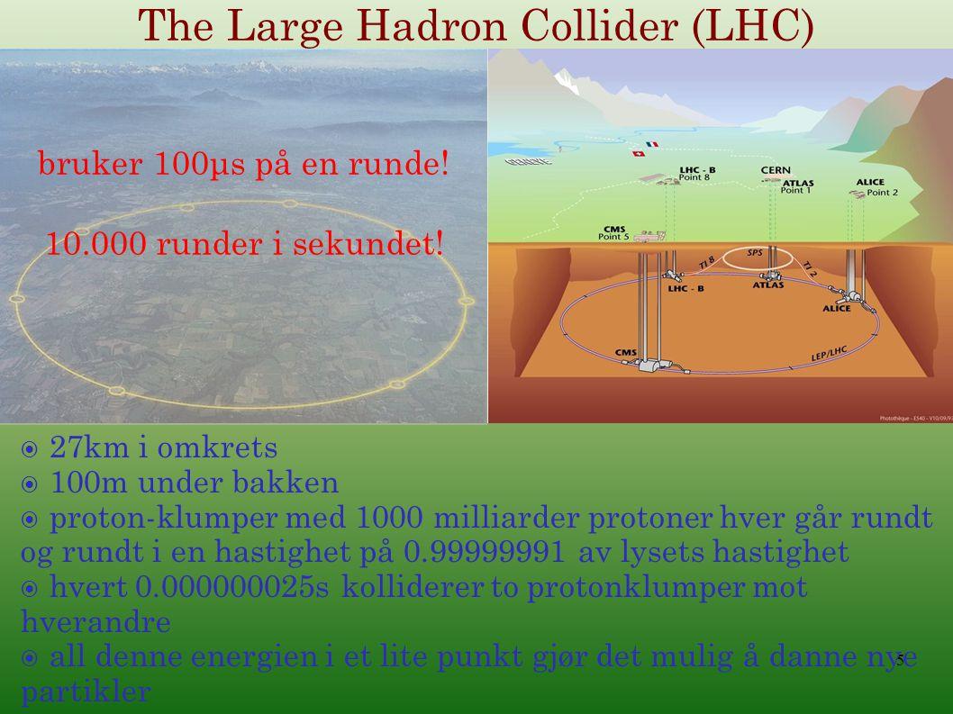  27km i omkrets  100m under bakken  proton-klumper med 1000 milliarder protoner hver går rundt og rundt i en hastighet på 0.99999991 av lysets hastighet  hvert 0.000000025s kolliderer to protonklumper mot hverandre  all denne energien i et lite punkt gjør det mulig å danne nye partikler The Large Hadron Collider (LHC) bruker 100μs på en runde.