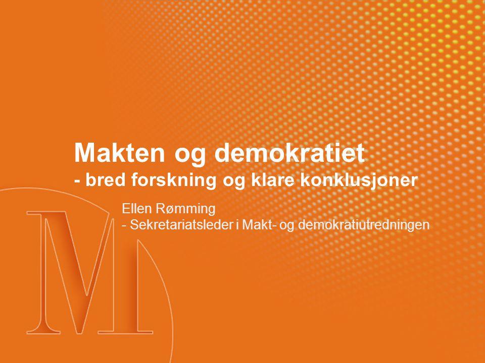 Bredt forskningsprogram °Bredde og mangfold °Mandat: Samfunnsendringer med betydning for det norske folkestyret °Mange innfallsvinkler og nye temaer °Både samfunnsvitenskap og humaniora °Klare linjer i konklusjonene