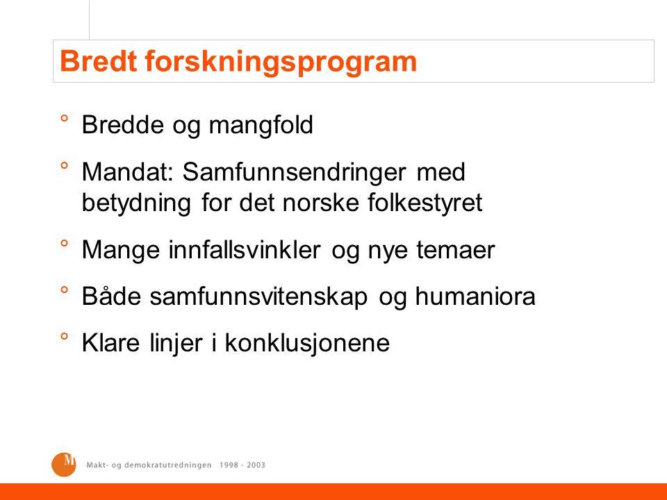 Bredt forskningsprogram °Bredde og mangfold °Mandat: Samfunnsendringer med betydning for det norske folkestyret °Mange innfallsvinkler og nye temaer °