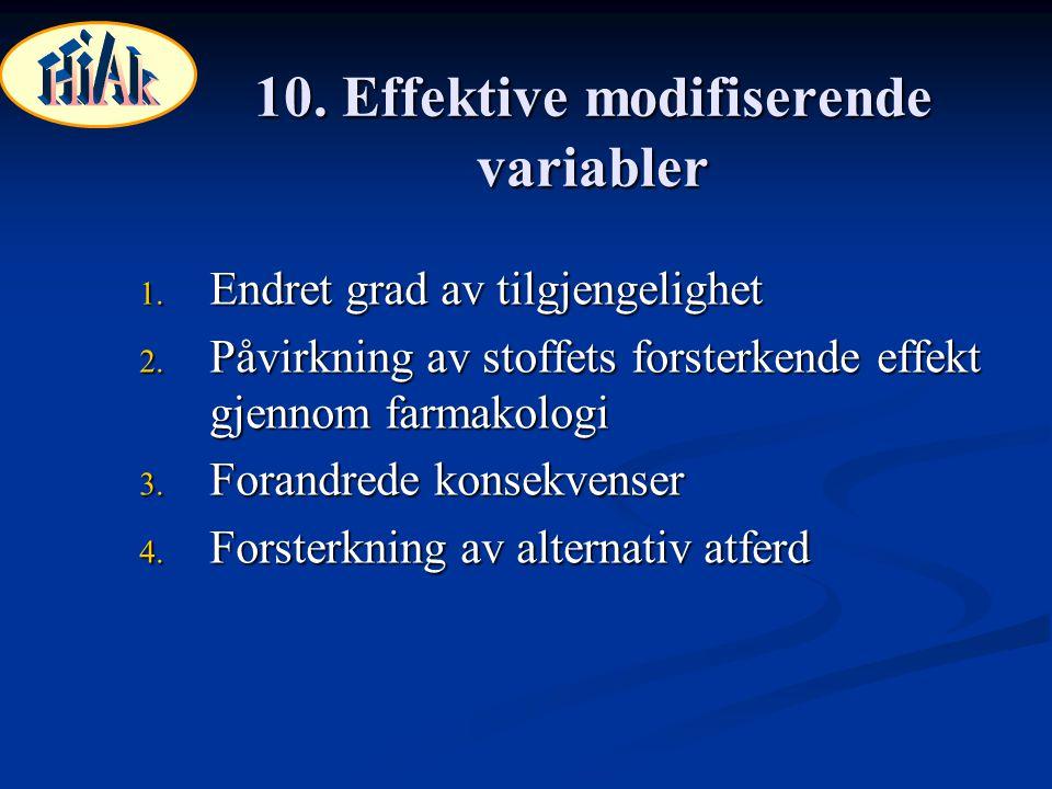 10. Effektive modifiserende variabler 1. Endret grad av tilgjengelighet 2. Påvirkning av stoffets forsterkende effekt gjennom farmakologi 3. Forandred