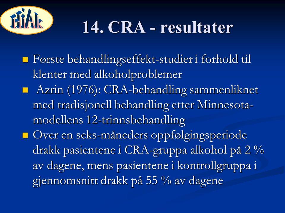 14. CRA - resultater Første behandlingseffekt-studier i forhold til klenter med alkoholproblemer Første behandlingseffekt-studier i forhold til klente