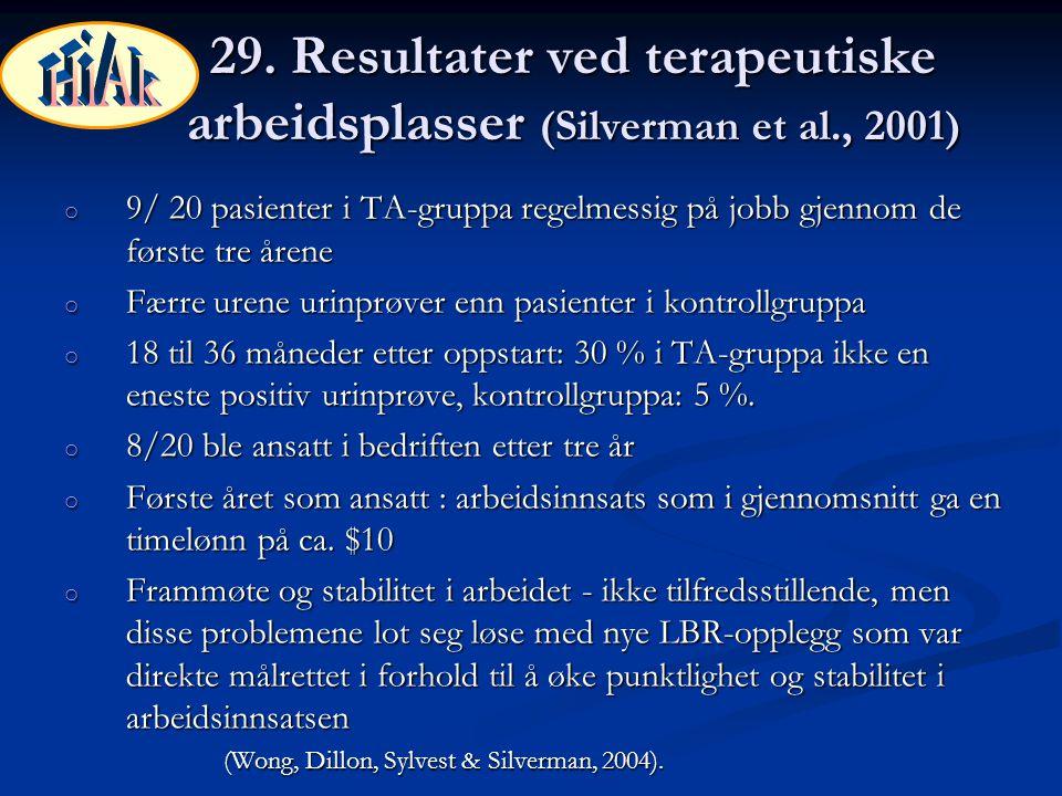 29. Resultater ved terapeutiske arbeidsplasser (Silverman et al., 2001) o 9/ 20 pasienter i TA-gruppa regelmessig på jobb gjennom de første tre årene