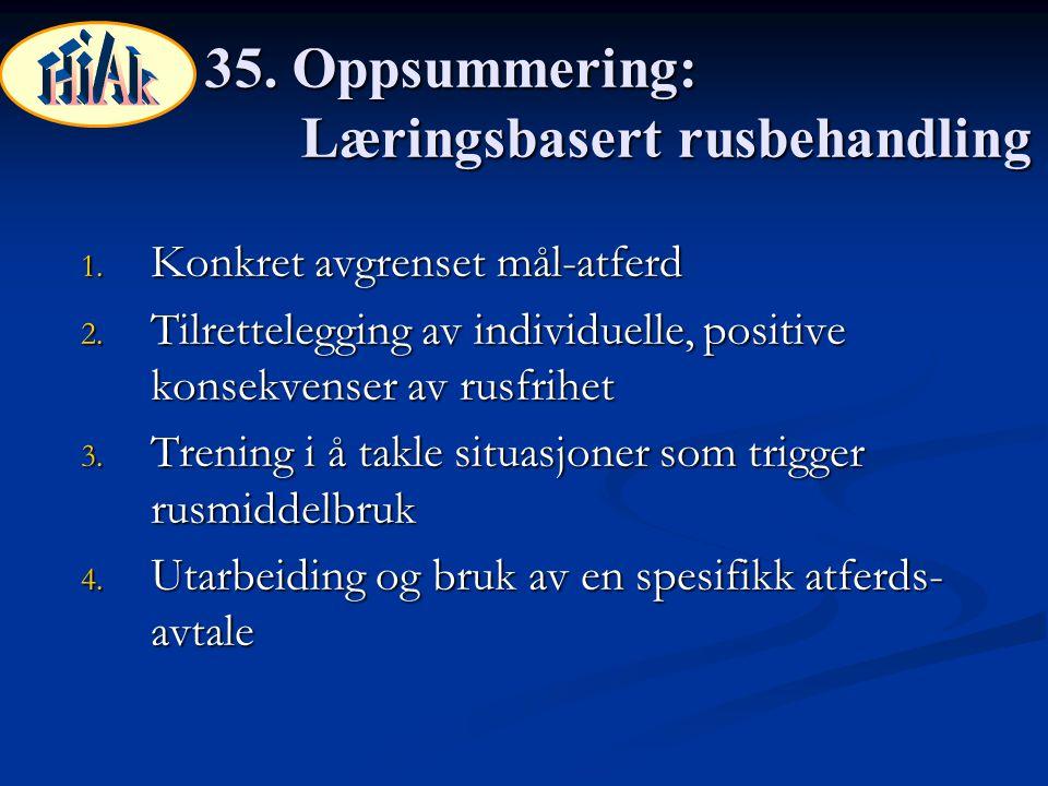 35. Oppsummering: Læringsbasert rusbehandling 1. Konkret avgrenset mål-atferd 2. Tilrettelegging av individuelle, positive konsekvenser av rusfrihet 3