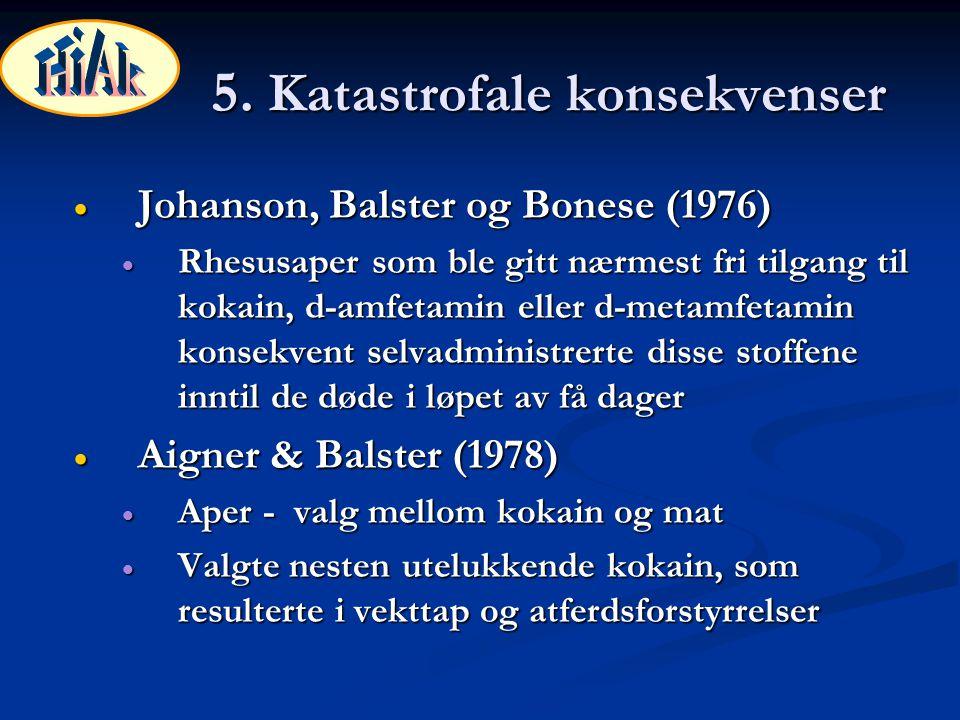 5. Katastrofale konsekvenser  Johanson, Balster og Bonese (1976)  Rhesusaper som ble gitt nærmest fri tilgang til kokain, d-amfetamin eller d-metamf