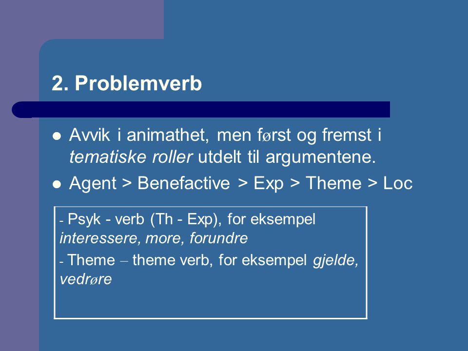 2. Problemverb Avvik i animathet, men f ø rst og fremst i tematiske roller utdelt til argumentene. Agent > Benefactive > Exp > Theme > Loc - Psyk - ve
