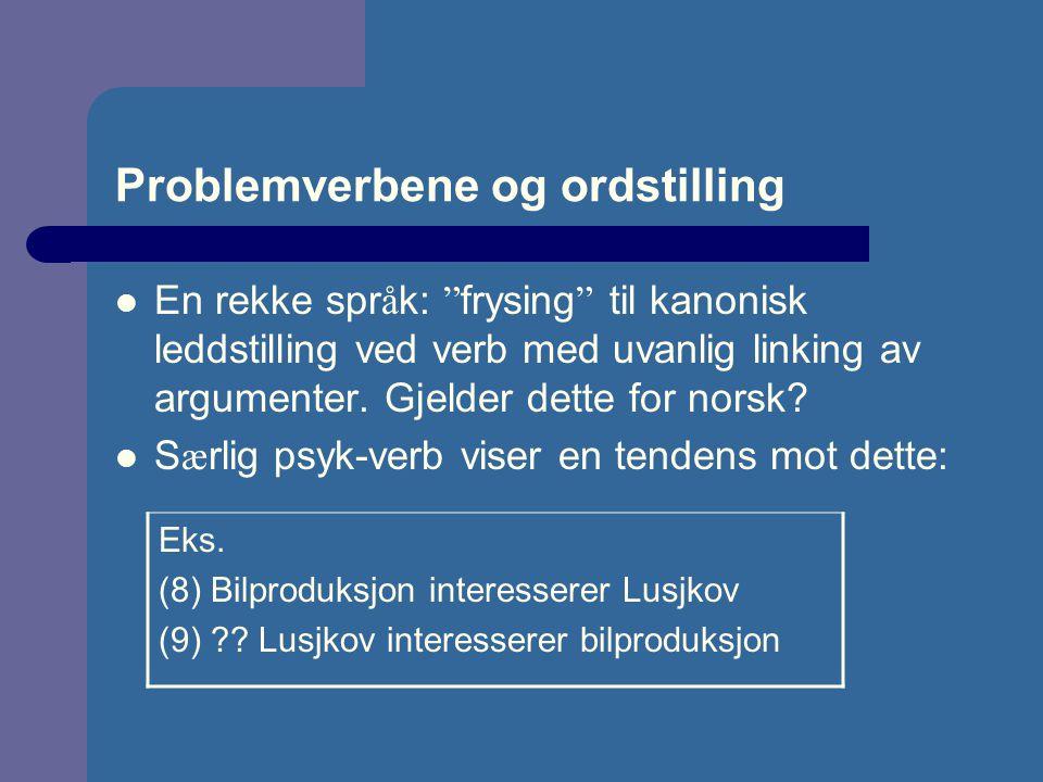 """Problemverbene og ordstilling En rekke spr å k: """" frysing """" til kanonisk leddstilling ved verb med uvanlig linking av argumenter. Gjelder dette for no"""