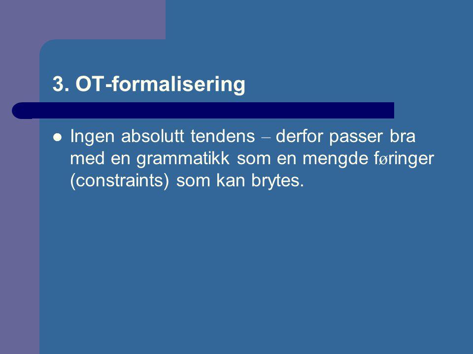 3. OT-formalisering Ingen absolutt tendens – derfor passer bra med en grammatikk som en mengde f ø ringer (constraints) som kan brytes.