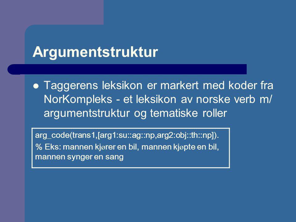 Argumentstruktur Taggerens leksikon er markert med koder fra NorKompleks - et leksikon av norske verb m/ argumentstruktur og tematiske roller arg_code(trans1,[arg1:su::ag::np,arg2:obj::th::np]).