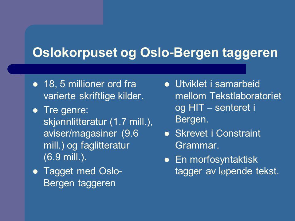 Oslokorpuset og Oslo-Bergen taggeren 18, 5 millioner ord fra varierte skriftlige kilder. Tre genre: skj ø nnlitteratur (1.7 mill.), aviser/magasiner (