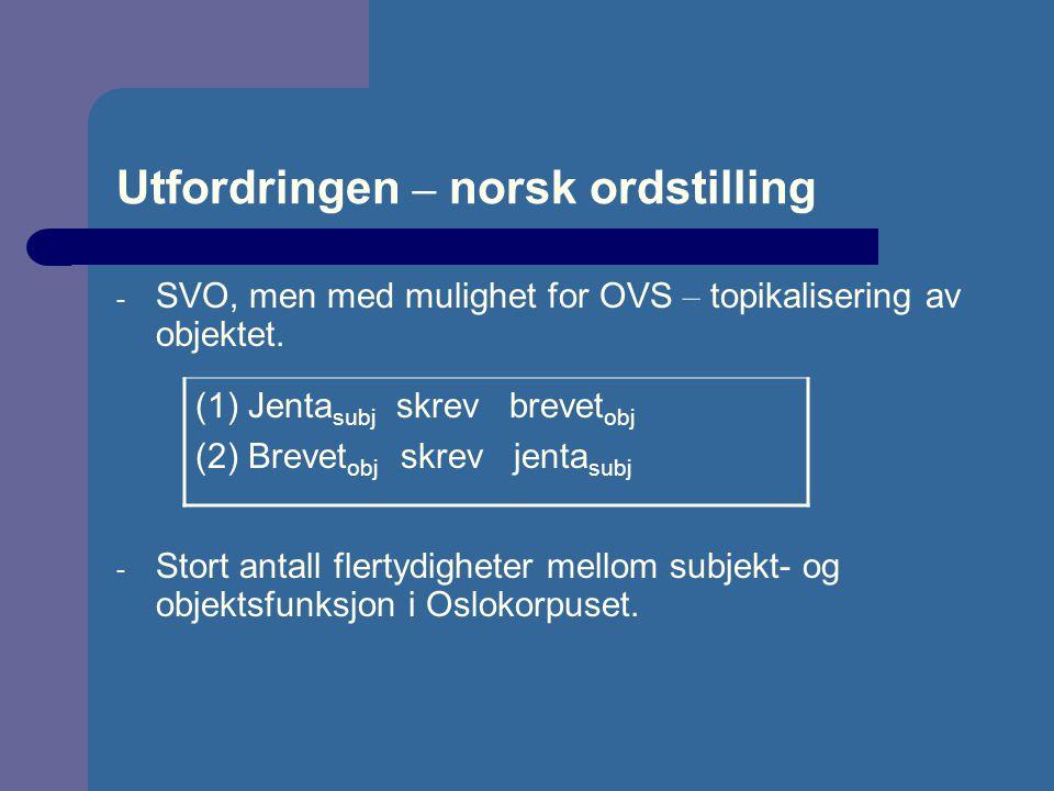 Utfordringen – norsk ordstilling - SVO, men med mulighet for OVS – topikalisering av objektet. - Stort antall flertydigheter mellom subjekt- og objekt