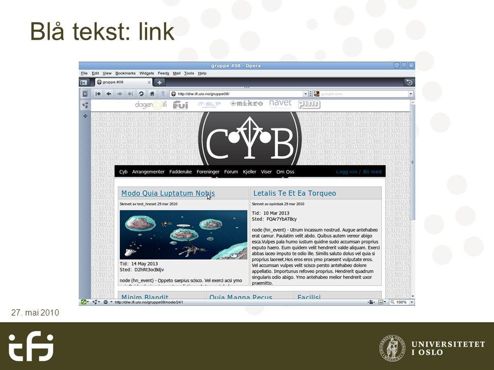 Blå tekst: link 27. mai 2010