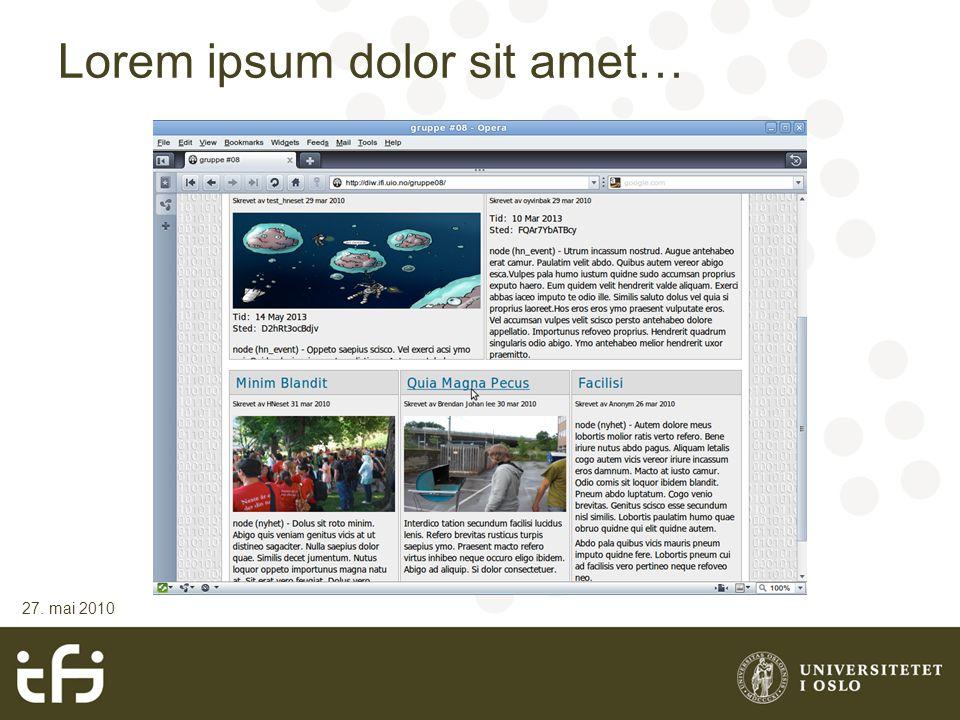 Lorem ipsum dolor sit amet… 27. mai 2010