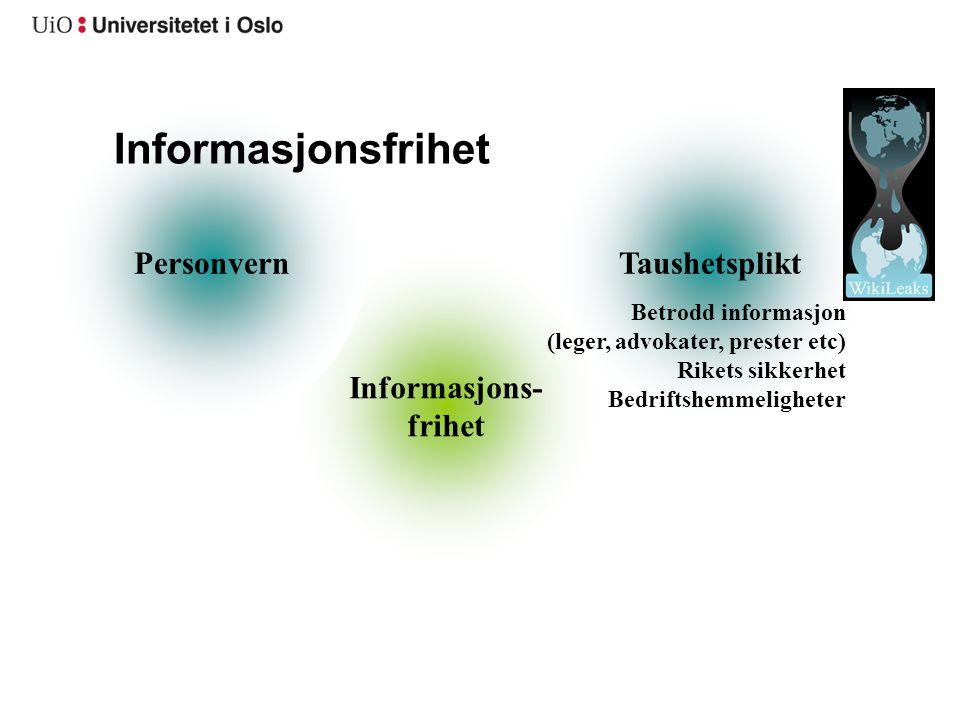 Informasjons- frihet TaushetspliktPersonvern Informasjonsfrihet Betrodd informasjon (leger, advokater, prester etc) Rikets sikkerhet Bedriftshemmeligh