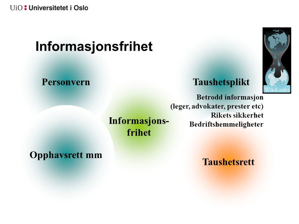 Informasjons- frihet TaushetspliktPersonvern Informasjonsfrihet Opphavsrett mm Taushetsrett Betrodd informasjon (leger, advokater, prester etc) Rikets
