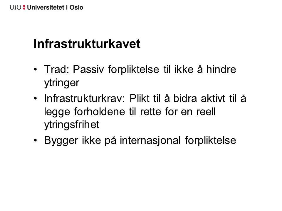 Infrastrukturkavet Trad: Passiv forpliktelse til ikke å hindre ytringer Infrastrukturkrav: Plikt til å bidra aktivt til å legge forholdene til rette f