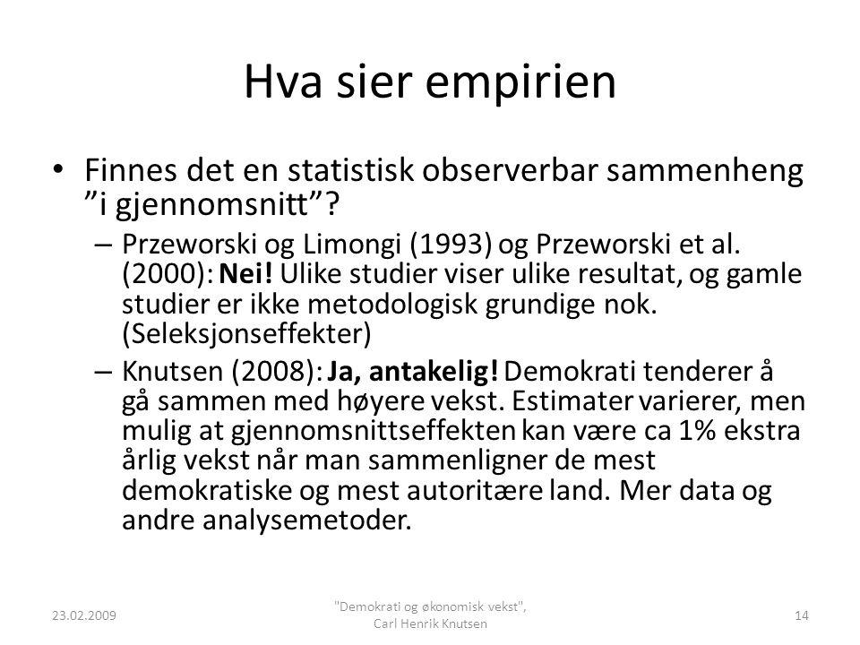 """Hva sier empirien Finnes det en statistisk observerbar sammenheng """"i gjennomsnitt""""? – Przeworski og Limongi (1993) og Przeworski et al. (2000): Nei! U"""
