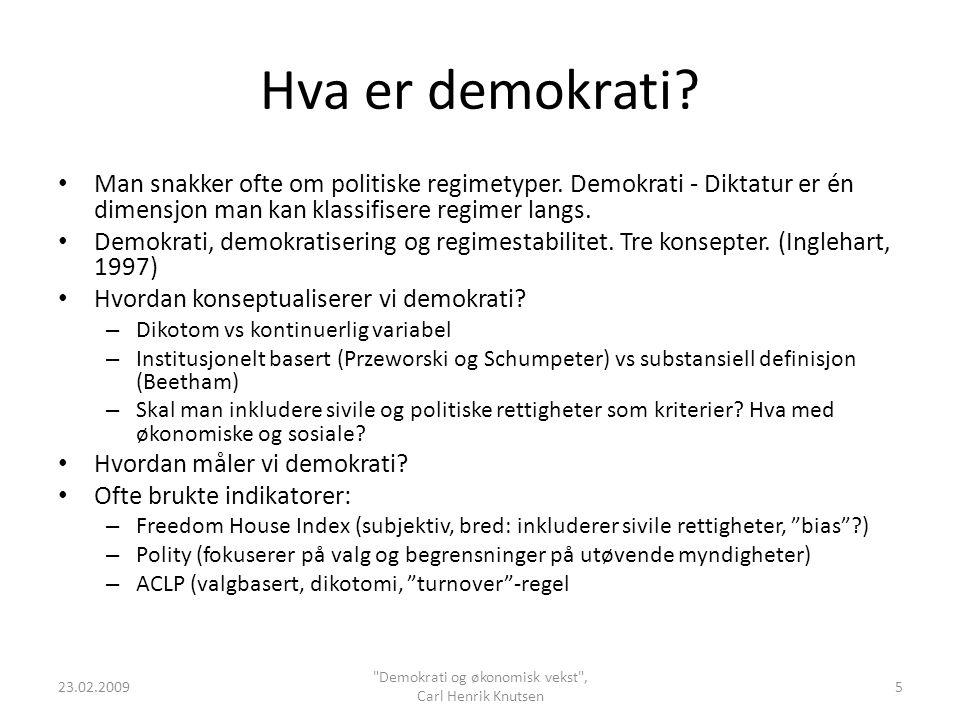 Hva er demokrati? Man snakker ofte om politiske regimetyper. Demokrati - Diktatur er én dimensjon man kan klassifisere regimer langs. Demokrati, demok
