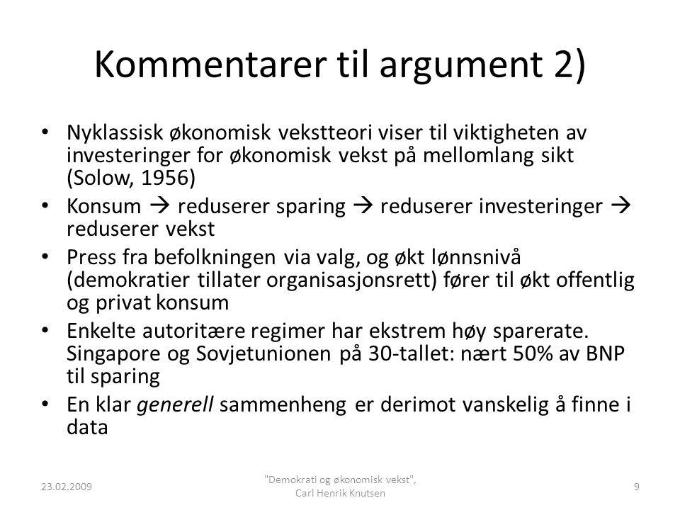 Kommentarer til argument 3) Olson (1982): Demokratier og særinteressegrupper.
