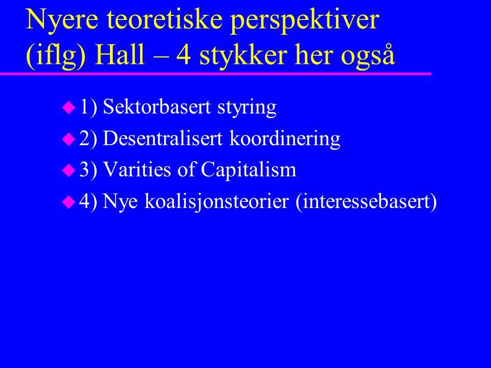 Nyere teoretiske perspektiver (iflg) Hall – 4 stykker her også u 1) Sektorbasert styring u 2) Desentralisert koordinering u 3) Varities of Capitalism