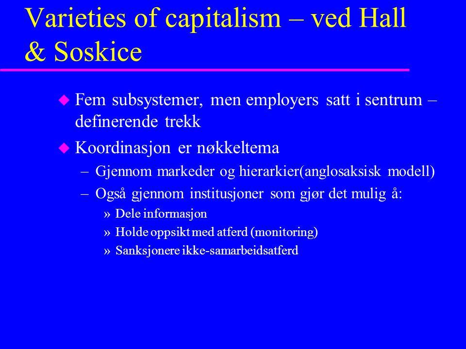 Varieties of capitalism – ved Hall & Soskice u Fem subsystemer, men employers satt i sentrum – definerende trekk u Koordinasjon er nøkkeltema –Gjennom