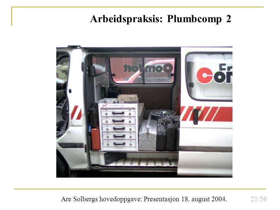 Are Solbergs hovedoppgave: Presentasjon 18. august 2004. Arbeidspraksis: Plumbcomp 2 21/56