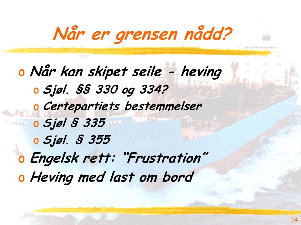 """14 Når er grensen nådd? oNår kan skipet seile - heving oSjøl. §§ 330 og 334? oCertepartiets bestemmelser oSjøl § 335 oSjøl. § 355 oEngelsk rett: """"Frus"""