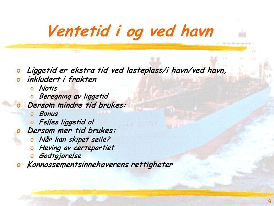 9 Ventetid i og ved havn oLiggetid er ekstra tid ved lasteplass/i havn/ved havn, oinkludert i frakten oNotis oBeregning av liggetid oDersom mindre tid