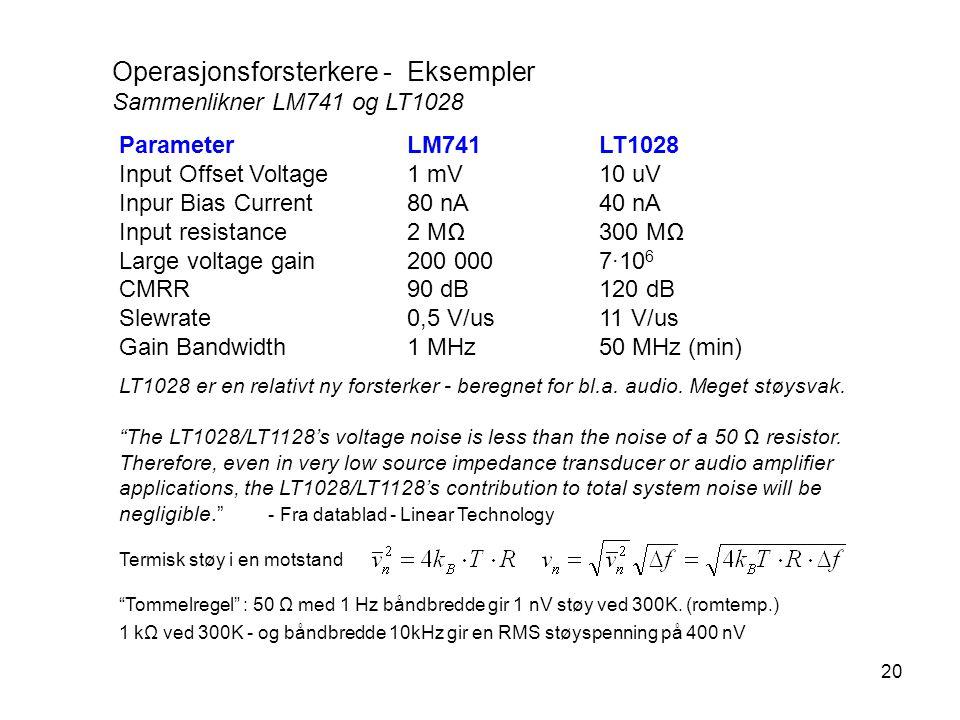 20 Operasjonsforsterkere - Eksempler Sammenlikner LM741 og LT1028 ParameterLM741LT1028 Input Offset Voltage1 mV10 uV Inpur Bias Current80 nA40 nA Inpu