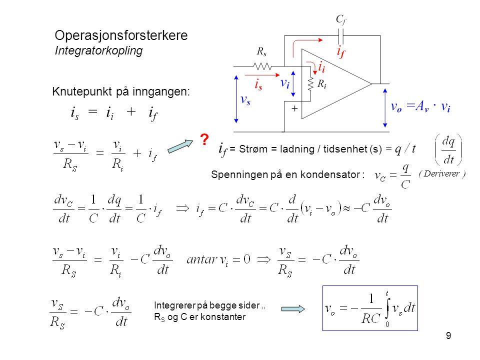 9 Operasjonsforsterkere Integratorkopling Knutepunkt på inngangen: i s = i i + i f ? Spenningen på en kondensator : i f = Strøm = ladning / tidsenhet