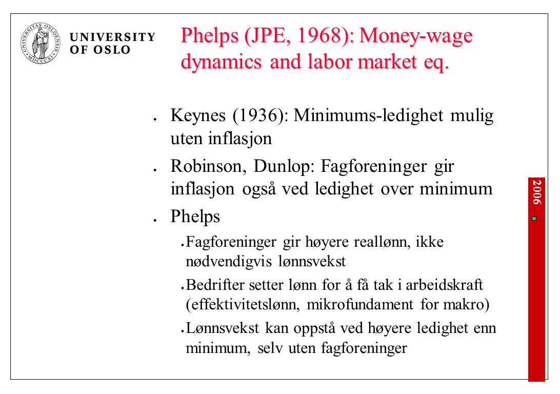 2006 Phelps (JPE, 1968): Money-wage dynamics and labor market eq. Keynes (1936): Minimums-ledighet mulig uten inflasjon Robinson, Dunlop: Fagforeninge