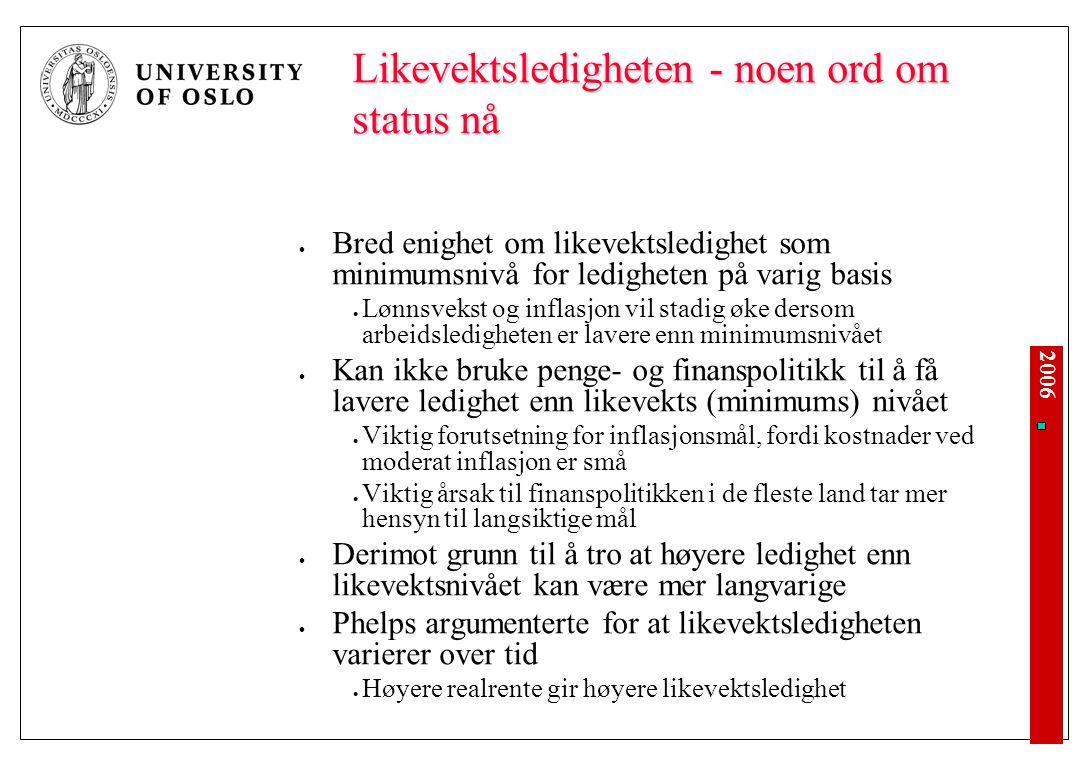 2006 Likevektsledigheten - noen ord om status nå Bred enighet om likevektsledighet som minimumsnivå for ledigheten på varig basis Lønnsvekst og inflas