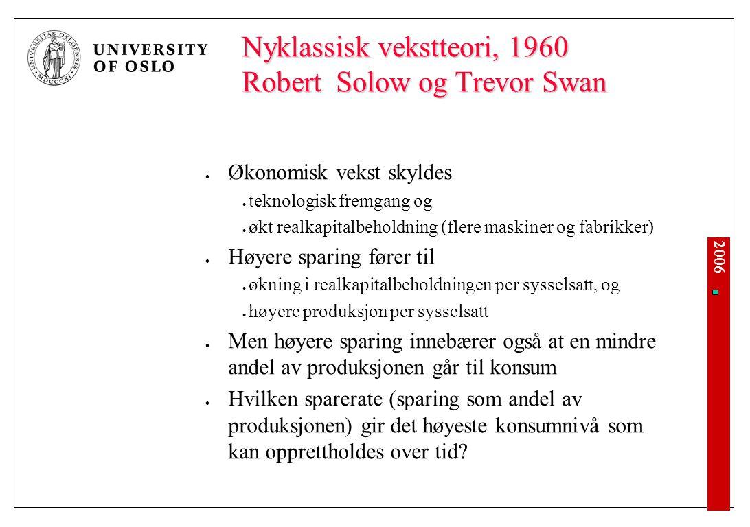2006 Nyklassisk vekstteori, 1960 Robert Solow og Trevor Swan Økonomisk vekst skyldes teknologisk fremgang og økt realkapitalbeholdning (flere maskiner