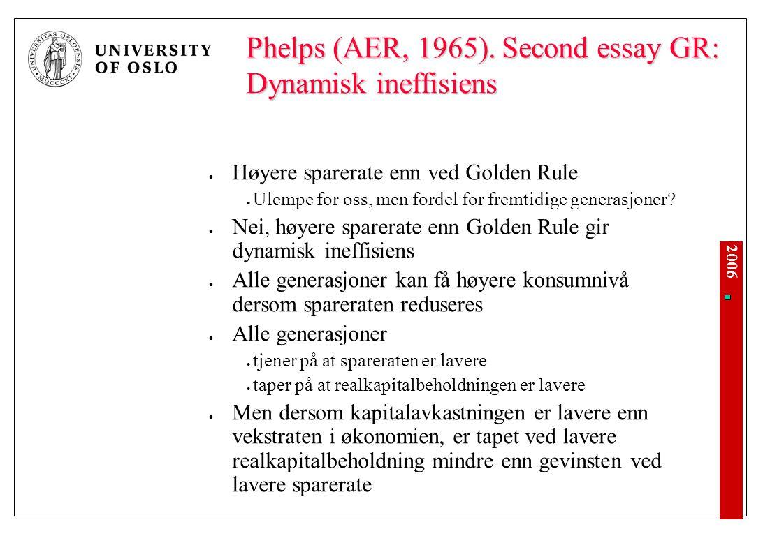 2006 Phelps (AER, 1965). Second essay GR: Dynamisk ineffisiens Høyere sparerate enn ved Golden Rule Ulempe for oss, men fordel for fremtidige generasj