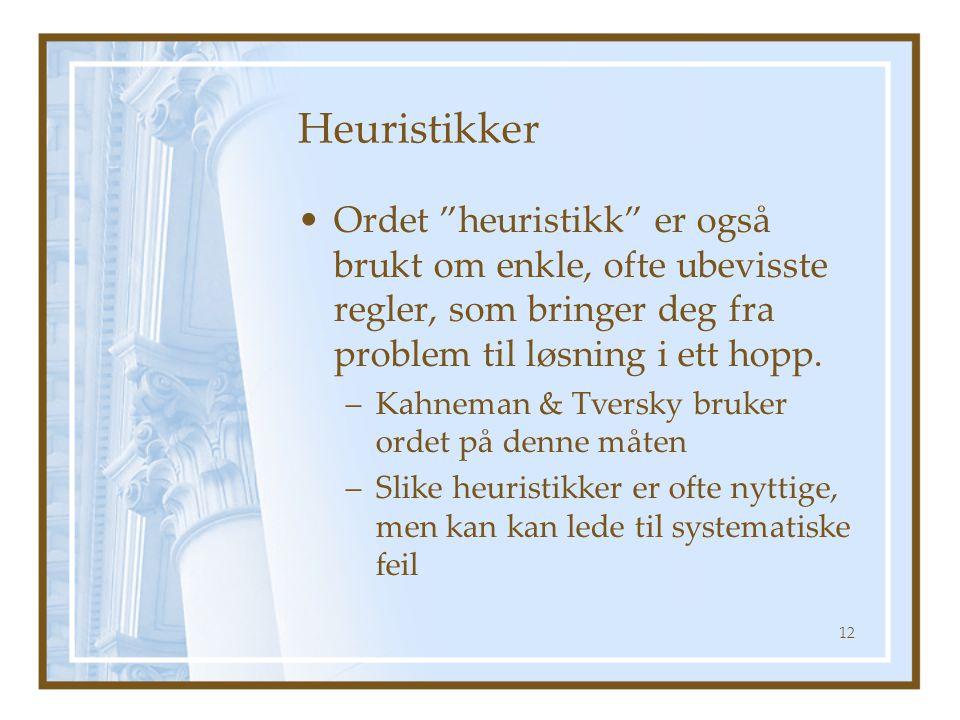 """Heuristikker Ordet """"heuristikk"""" er også brukt om enkle, ofte ubevisste regler, som bringer deg fra problem til løsning i ett hopp. –Kahneman & Tversky"""