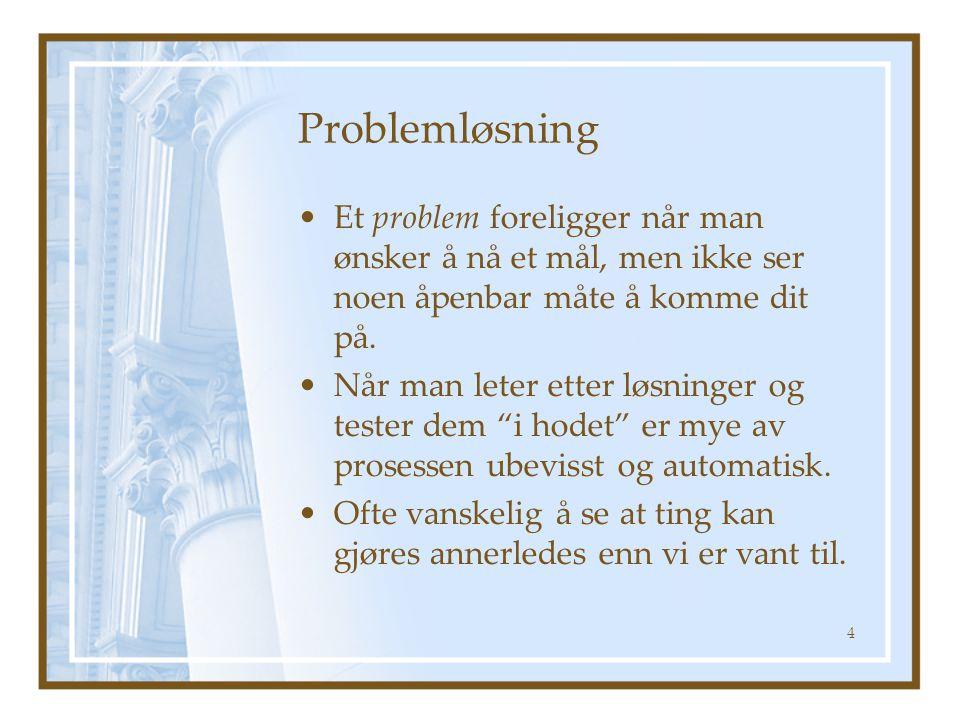Problemløsning Et problem foreligger når man ønsker å nå et mål, men ikke ser noen åpenbar måte å komme dit på. Når man leter etter løsninger og teste